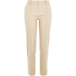 Beige slim tailored trousers