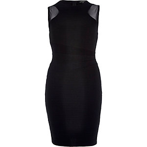 Black mesh insert bodycon mini dress