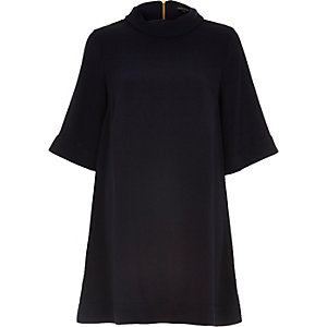 Navy crepe roll neck swing dress