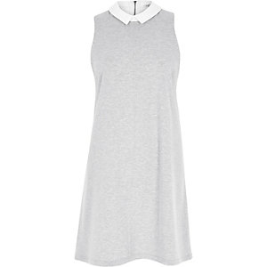 Grey marl collar sleeveless swing dress
