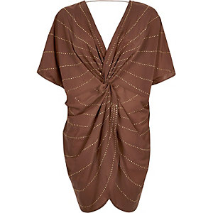 Dark red twist front kaftan