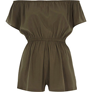 Khaki green bardot playsuit