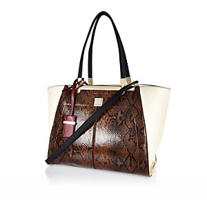 Brown snake print structured tote handbag