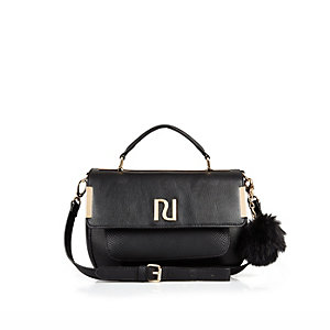 Black pom pom mini satchel bag