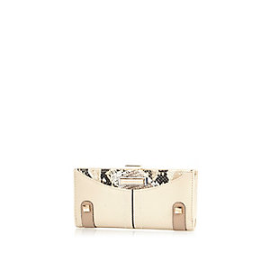 Cream snake panel slim purse