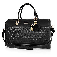 Black quilted weekend bag