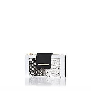 White snake print foldover tab purse