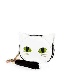 White mini cat purse