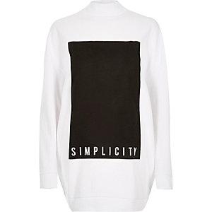 White simplicity print oversized sweatshirt
