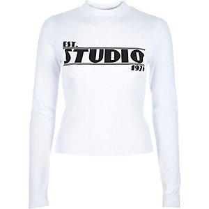 White Studio print turtle neck top