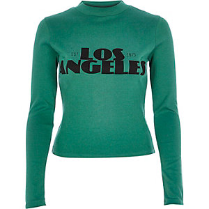 Green Los Angeles print turtle neck top