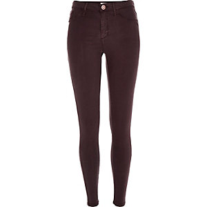 Dark red sateen finish Molly jeggings
