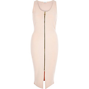 Nude jersey zip front bodycon midi dress