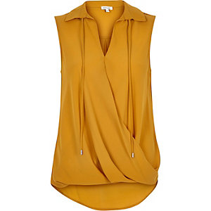 Yellow tie neck wrapped blouse