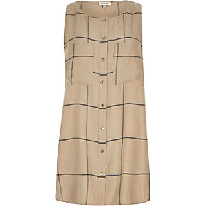Beige check sleeveless shirt