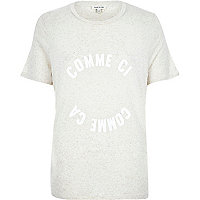 Beige marl French print t-shirt