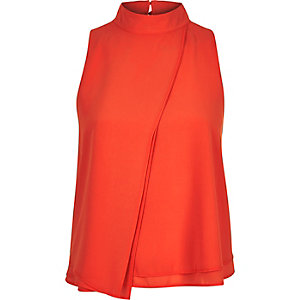Red asymmetric layer sleeveless top