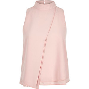 Pink pleated front sleeveless top