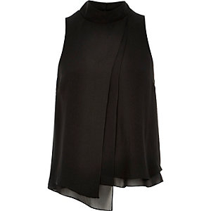 Black asymmetric pleated front top