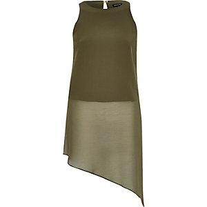 Khaki green asymmetric vest