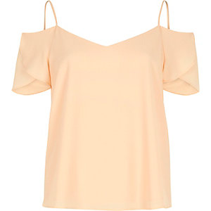 Light coral cold shoulder frilly sleeve top