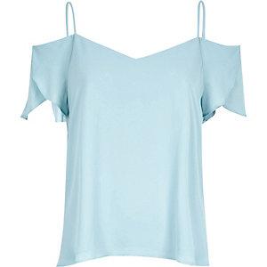 Light blue cold shoulder frilly sleeve top