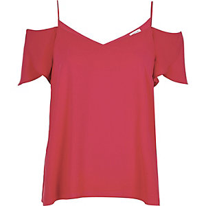 Red cold shoulder frilly sleeve top