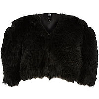 Black Design Forum cropped faux fur bolero