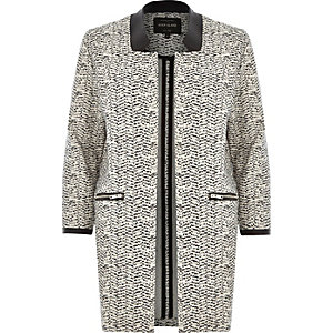 Cream jersey leather-look collar jacket