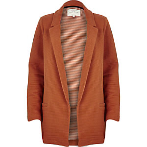 Brown ribbed jersey jacket