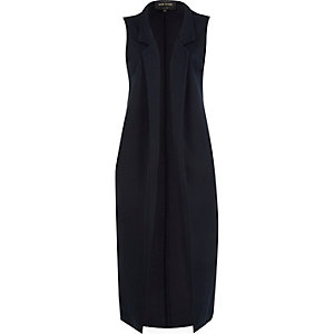 Navy sleeveless longline duster jacket