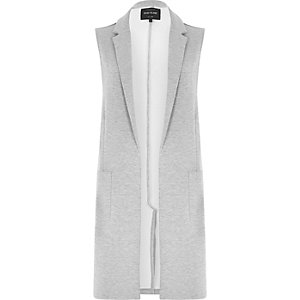 Grey jersey longline sleeveless jacket