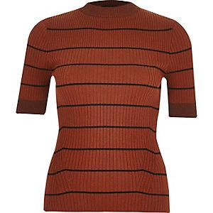Rust knitted stripe metallic top