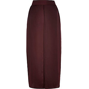 dark red pleat front maxi skirt
