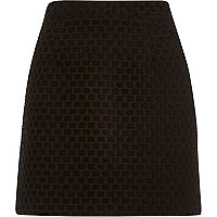 Black jacquard A-line skirt