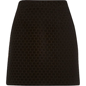 Black jacquard A-line skirt