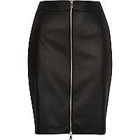Black coated zip front pencil skirt