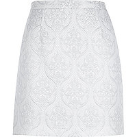 White metallic jacquard A-line skirt