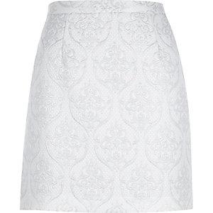 White metallic jacquard A-line skirt