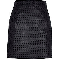 Black laser cut A-line skirt