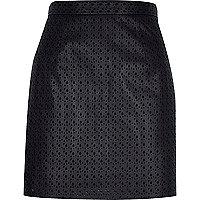 Black laser cut A-line skirt