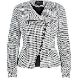 White print asymmetric peplum jacket