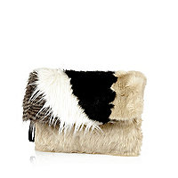 Black faux fur clutch bag