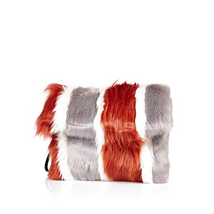 Orange stripe faux fur clutch bag