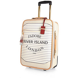 Cream stripe Paris print wheelie suitcase