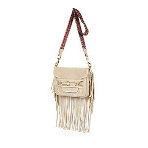 Beige leather fringed cross body handbag