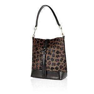Brown leather leopard print bucket handbag