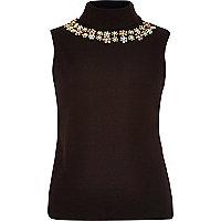 Black embellished high neck sleeveless top