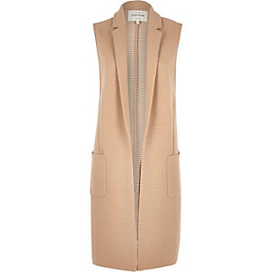 Brown ribbed longline sleeveless jacket