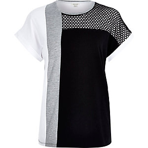 Grey mesh insert colour block t-shirt